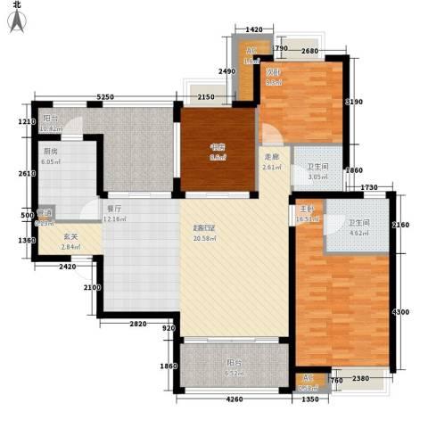 新华联广场3室0厅2卫1厨129.00㎡户型图