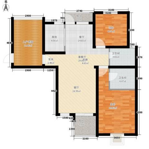 红星小区2室1厅2卫1厨84.02㎡户型图