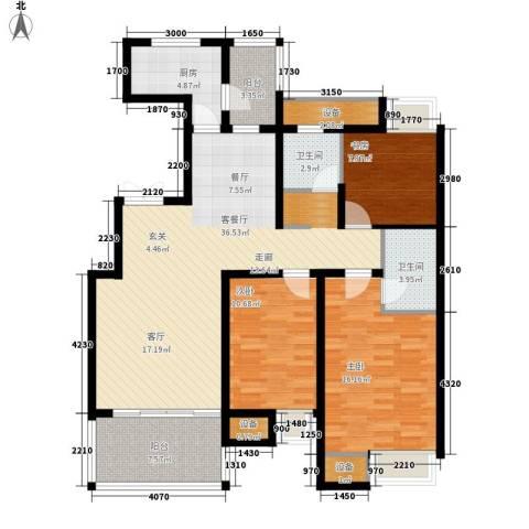 红星小区3室1厅2卫1厨142.00㎡户型图