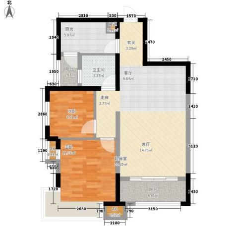 新华联广场2室0厅1卫1厨93.00㎡户型图