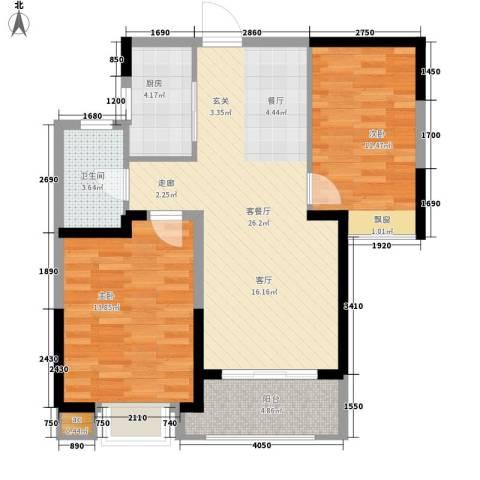 融科城2室1厅1卫1厨85.00㎡户型图
