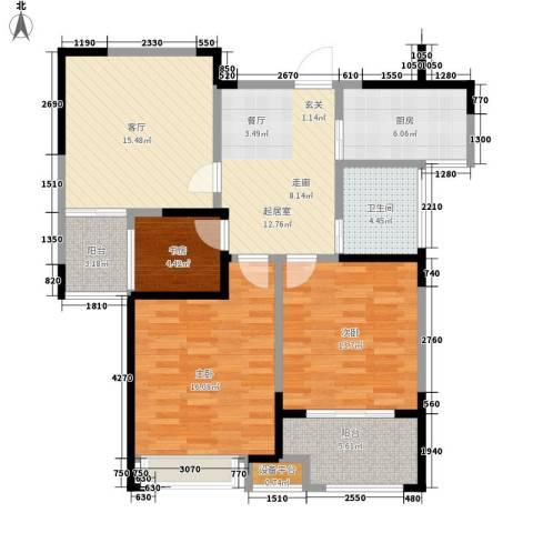 观湖壹号3室1厅1卫1厨118.00㎡户型图