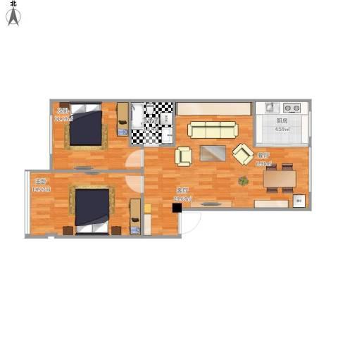 文祥豪府三期2室1厅1卫1厨85.00㎡户型图