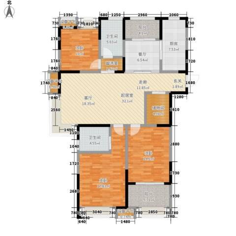 观湖壹号3室1厅2卫1厨166.00㎡户型图