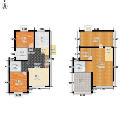 嘉恒・格林恬园2室1厅2卫1厨174.00㎡户型图
