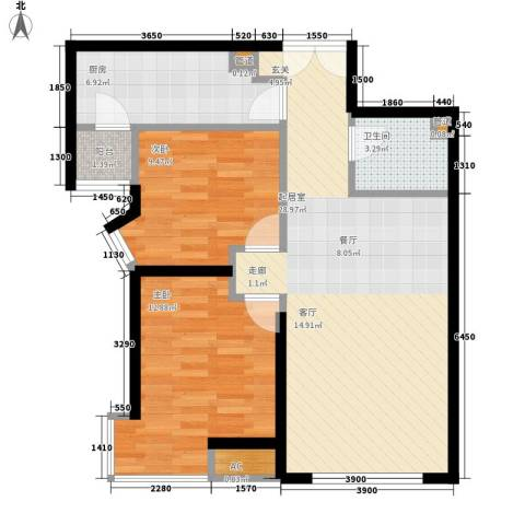 天津富力湾2室0厅1卫1厨89.00㎡户型图