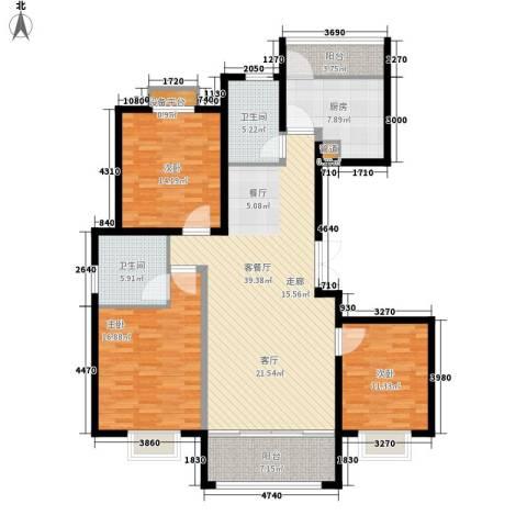 澄波湖壹号3室1厅2卫1厨127.00㎡户型图