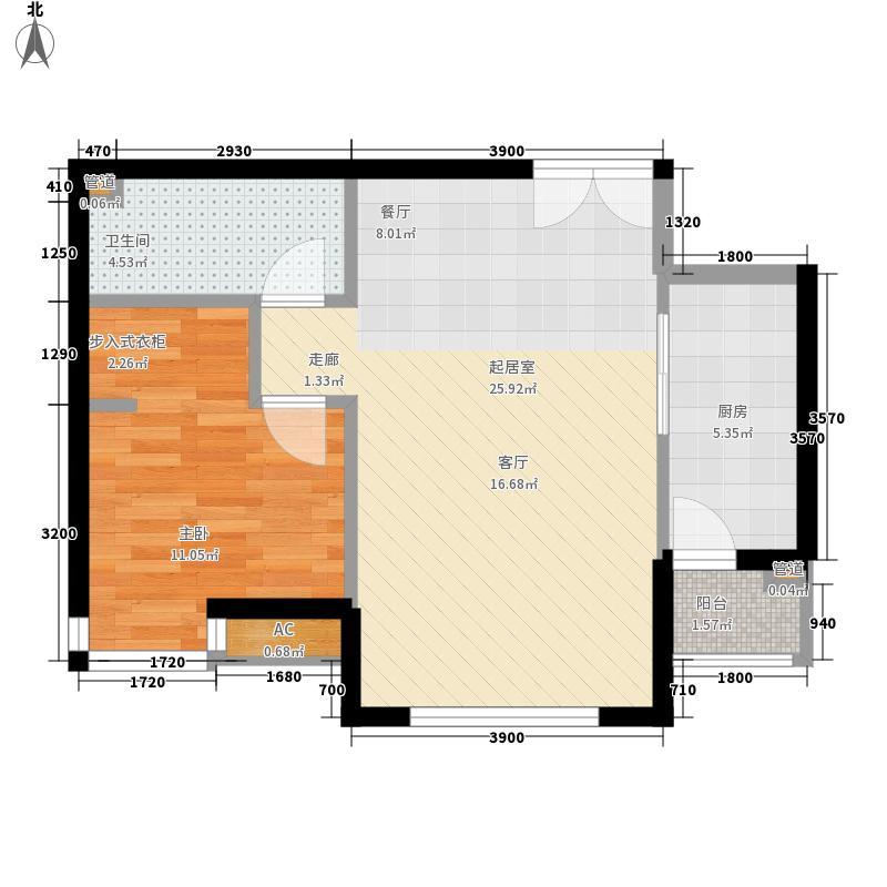 天津富力湾77.00㎡一期1号楼标准面积7700m户型