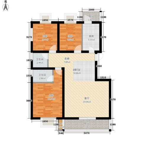万花园3室0厅2卫1厨82.00㎡户型图