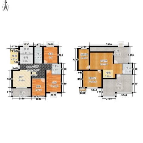 嘉恒・格林恬园3室1厅3卫1厨226.00㎡户型图
