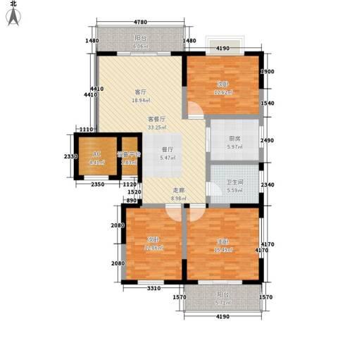 兴阎温泉小区3室1厅1卫1厨118.00㎡户型图