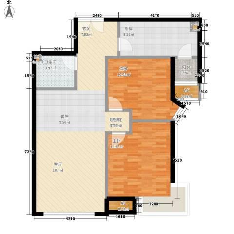 天津富力湾2室0厅1卫1厨90.00㎡户型图