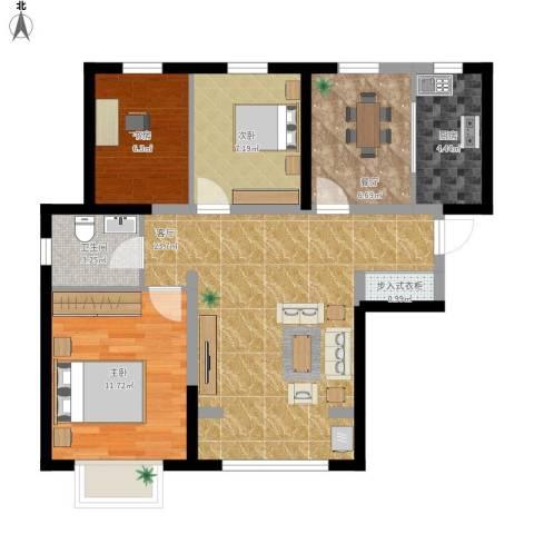天洋翠堤湾3室2厅1卫1厨92.00㎡户型图