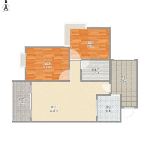 半岛花园2室1厅1卫1厨91.00㎡户型图