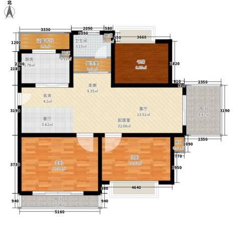 城南春天3室0厅1卫1厨110.00㎡户型图