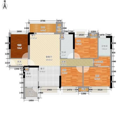 湘域中央花园4室1厅2卫1厨128.00㎡户型图