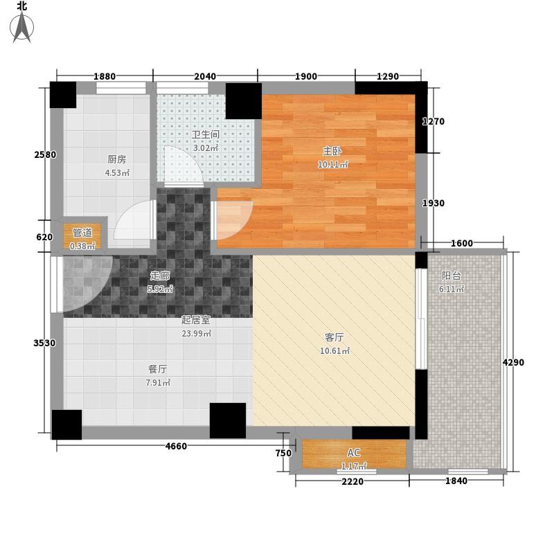 永鸿御景湾60号楼02/05单元 58平米 一房两厅一卫一阳台户型1室2厅1卫