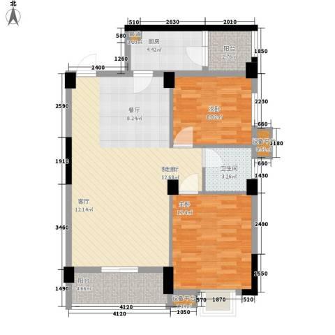 紫晶上成2室1厅1卫1厨96.00㎡户型图