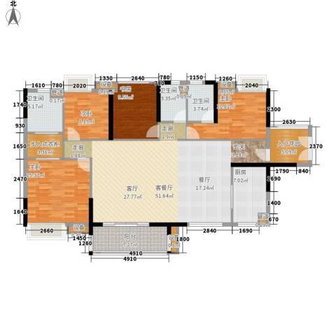 湘域中央花园4室1厅3卫1厨166.00㎡户型图