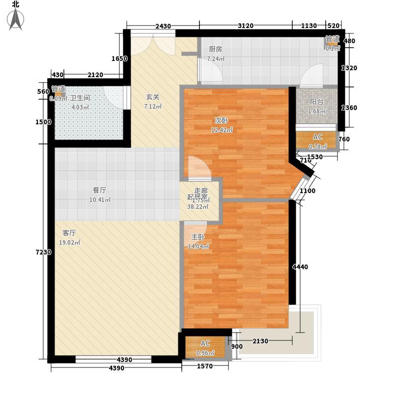 天津富力湾89.26㎡一期9号楼标准面积8926m户型