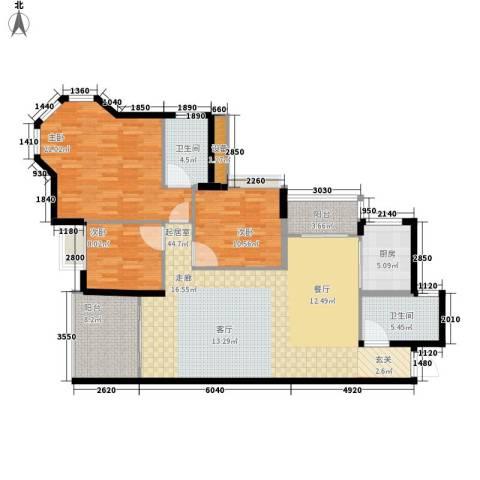 东逸华庭3室0厅2卫1厨125.00㎡户型图
