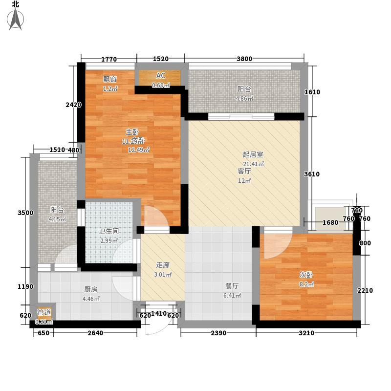 大鼎世纪滨江61.89㎡一期2栋标准面积6189m户型