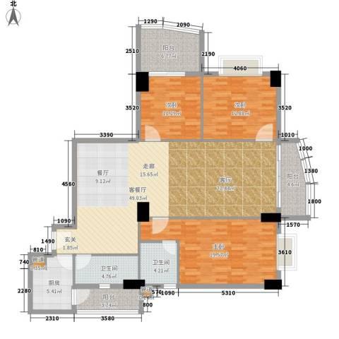 金豪嘉苑3室1厅2卫1厨137.00㎡户型图