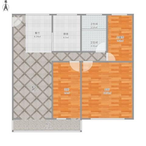 天津新村2室1厅2卫1厨109.00㎡户型图