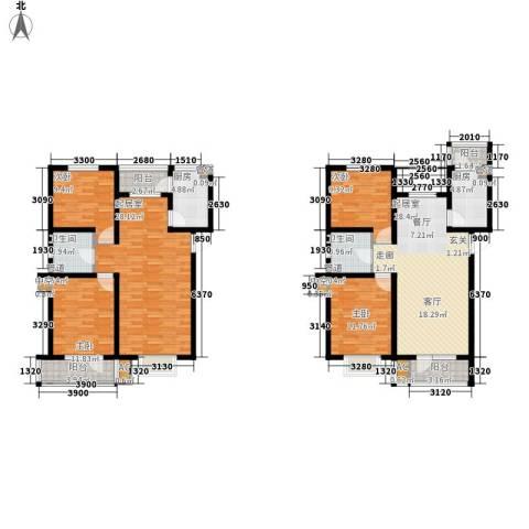 城建福源花园4室0厅2卫2厨130.02㎡户型图