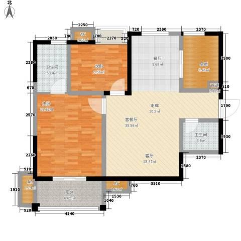 万花园2室1厅2卫1厨88.12㎡户型图