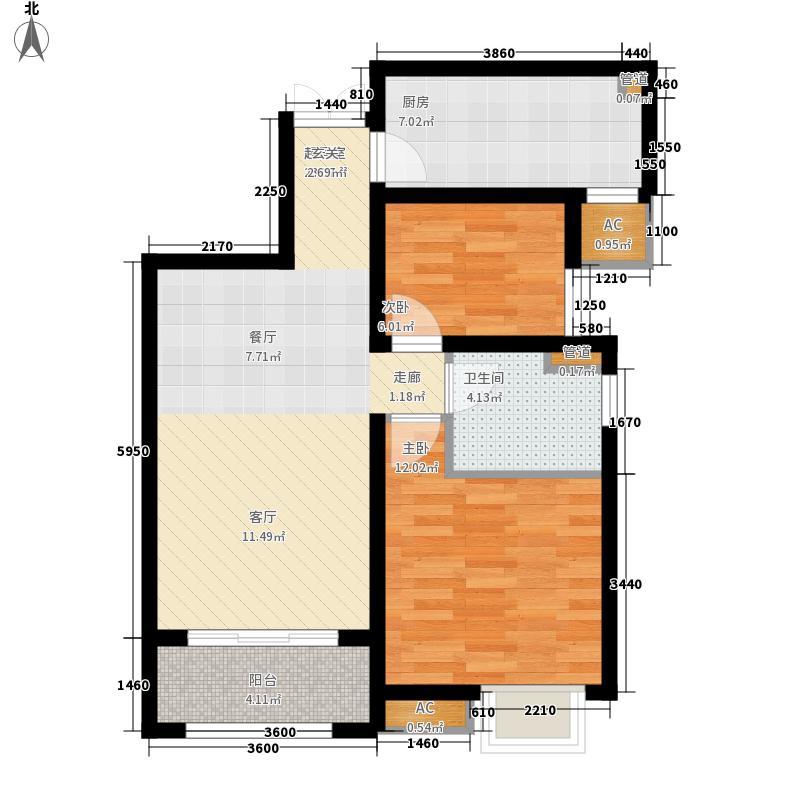 奥克斯盛世年华90.00㎡三期16、17、18、19号楼标准层C3户型