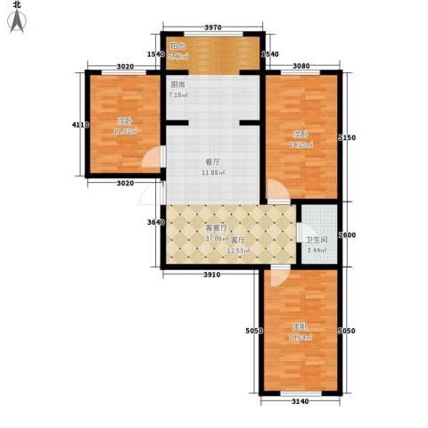 东方・新湖俪城3室1厅1卫0厨111.00㎡户型图