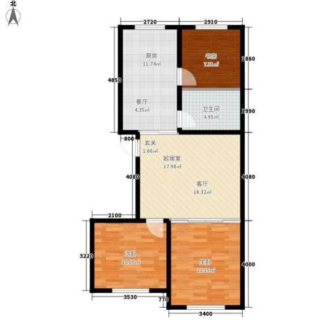 蒙东绒毛商贸城3室0厅1卫1厨90.00㎡户型图