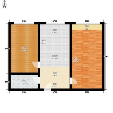 玻璃厂家属院2室0厅1卫0厨88.00㎡户型图