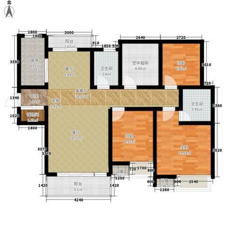 南湖林语3室1厅2卫1厨140.00㎡户型图