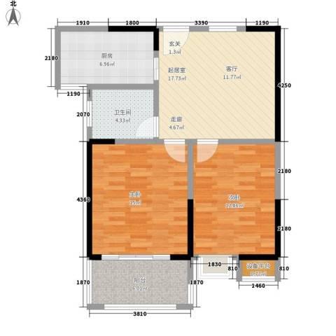 观湖壹号2室0厅1卫1厨72.00㎡户型图