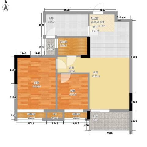 安南丽苑2室0厅1卫1厨74.00㎡户型图