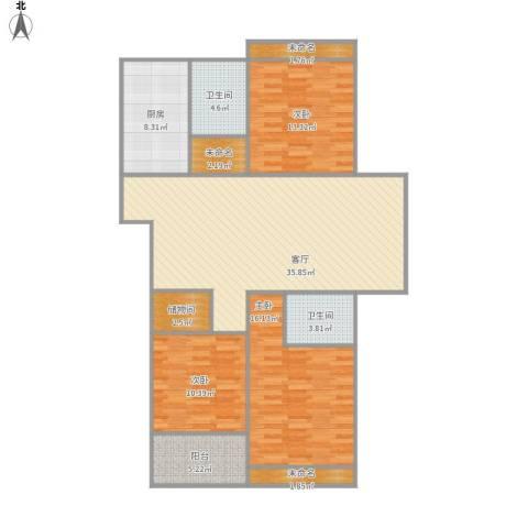 东台海陵首府3室1厅2卫1厨143.00㎡户型图