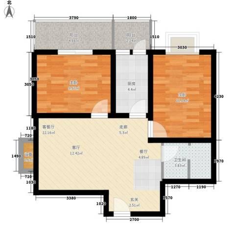 正天雅居2室1厅1卫1厨73.00㎡户型图