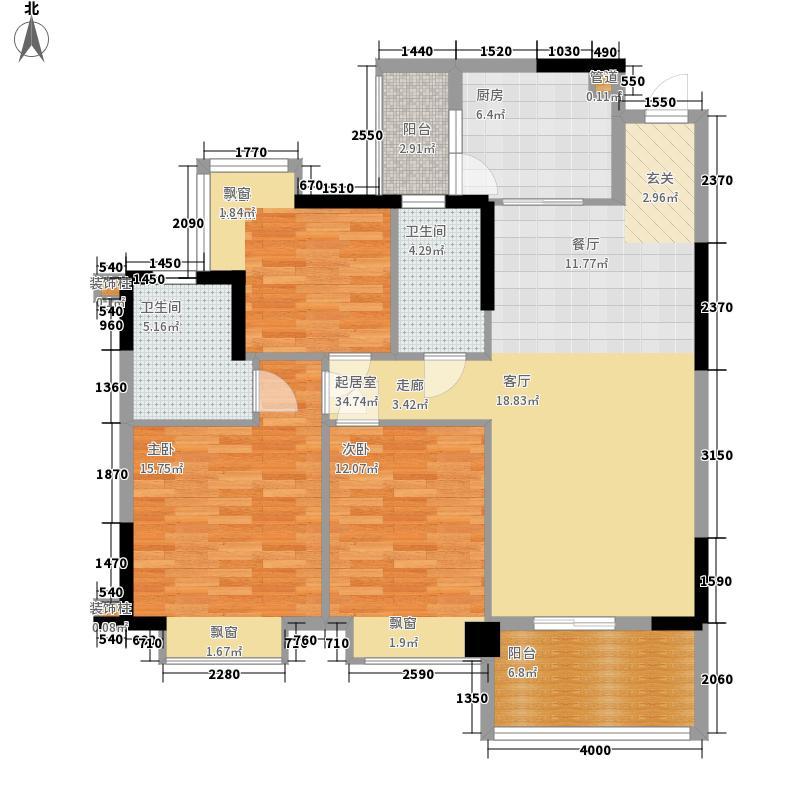 安南丽苑113.43㎡26栋04房、27栋02房三房两厅两卫户型3室2厅2卫