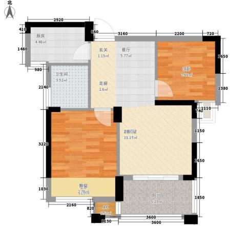 象屿优山美地2室0厅1卫1厨70.00㎡户型图