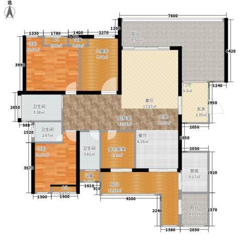 保利国际高尔夫公馆3室0厅3卫1厨163.00㎡户型图