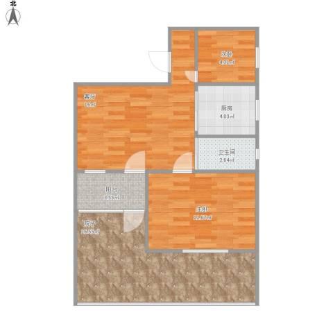 三元四村2室1厅1卫1厨80.00㎡户型图