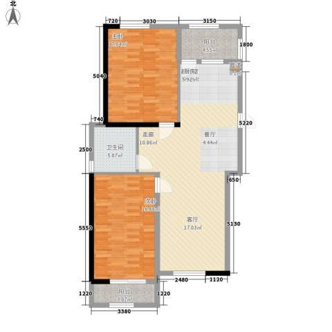景泰・彼岸蓝郡2室0厅1卫0厨85.00㎡户型图