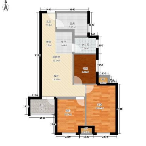 金桥澎湖山庄3室0厅1卫1厨89.00㎡户型图