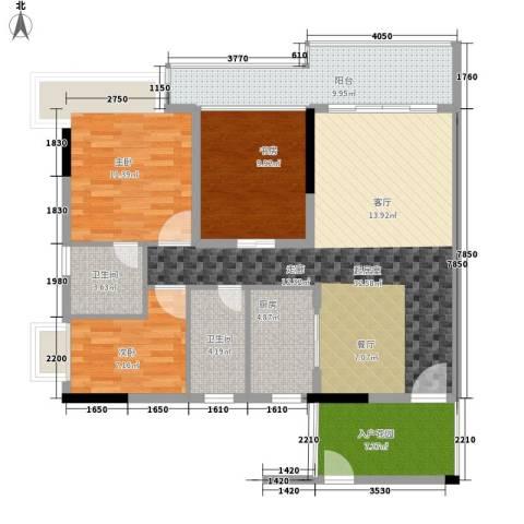 鼎信四季花园3室0厅2卫1厨135.00㎡户型图