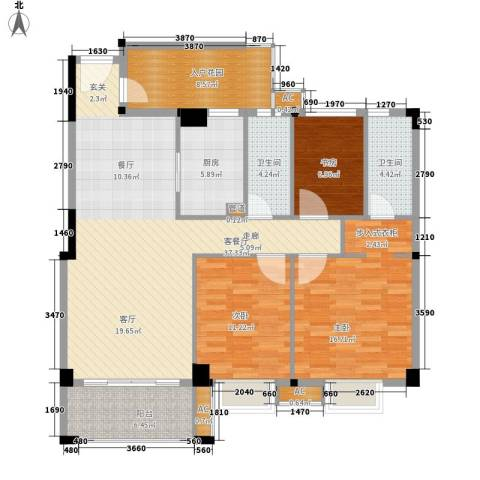 桃源明居3室1厅2卫1厨146.00㎡户型图