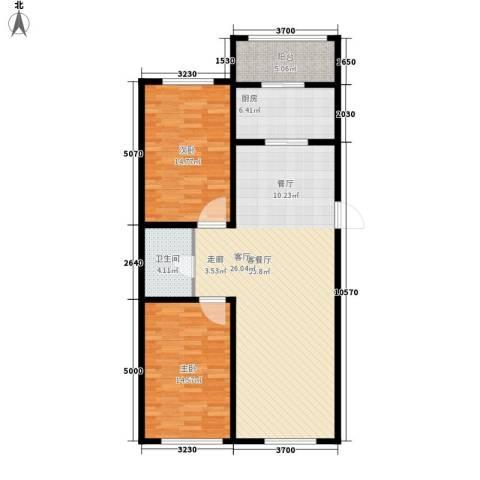 东方・新湖俪城2室1厅1卫1厨117.00㎡户型图