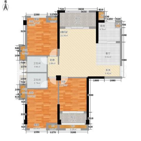 中茵蔚蓝国际3室0厅2卫1厨148.00㎡户型图