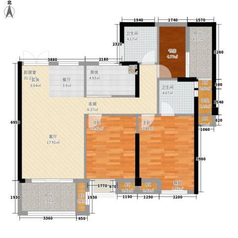 中茵蔚蓝国际3室0厅2卫1厨125.00㎡户型图